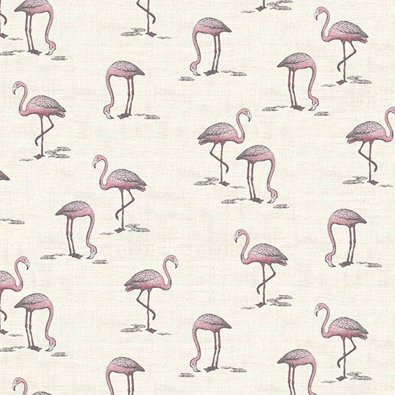 DESTASH 1.15m Flamingos Fern Garden Flamingo Cream Bird Tropical Cotton Fab
