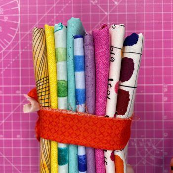 DESTASH Andover All Stars B Stash Starter Bundle Cotton Fabric Stash Stack  (Burnt Orange X Stitch Tie)