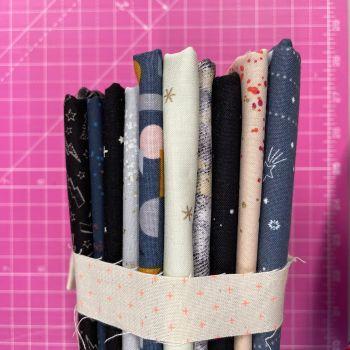 DESTASH Spaced Out Stash Starter Bundle Cotton Fabric Stash Stack  (Neon Plus Tie)