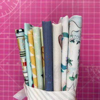 DESTASH Beach Vibes Stash Starter Bundle Cotton Fabric Stash Stack  (White Bias Tie)