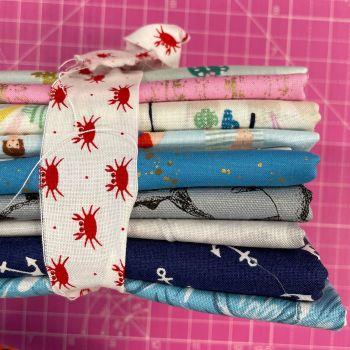 DESTASH Beach Vibes Stash Starter Bundle Cotton Fabric Stash Stack  (Crab Tie)