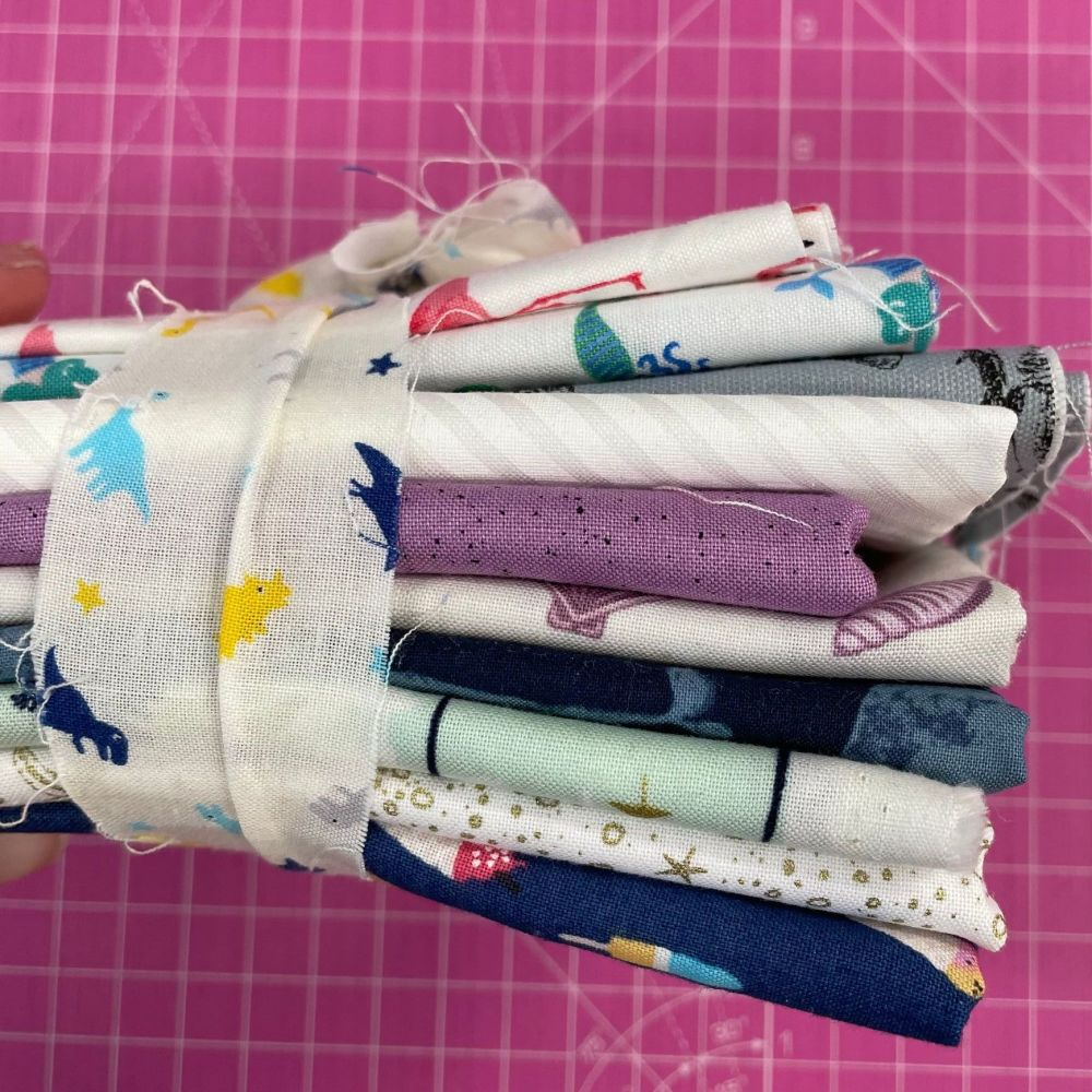 DESTASH Beach Vibes Stash Starter Bundle Cotton Fabric Stash Stack  (Dinosa