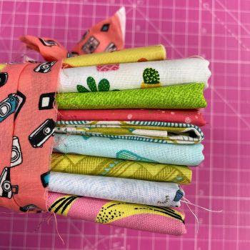 DESTASH Club Tropicana Stash Starter Bundle Cotton Fabric Stash Stack  (Camera Tie Banana Base)