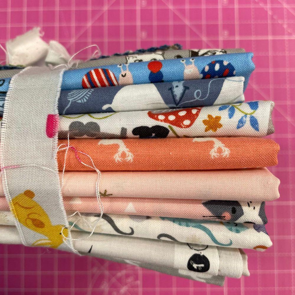 DESTASH Cute Creatures Stash Starter Bundle Cotton Fabric Stash Stack  (Bun