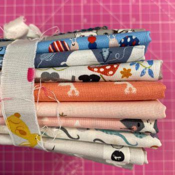 DESTASH Cute Creatures Stash Starter Bundle Cotton Fabric Stash Stack  (Bunny Tie)