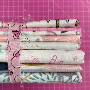 DESTASH Pretty Pink Stash Starter Bundle Cotton Fabric Stash Stack  (Minnie Tie)