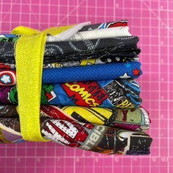 DESTASH Marvel Stash Starter Bundle Cotton Fabric Stash Stack  (Yellow Tie)