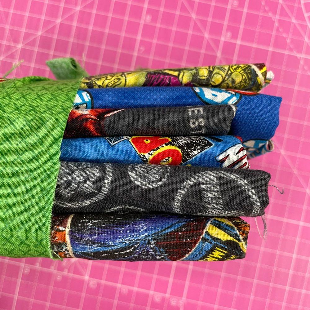 DESTASH Marvel Stash Starter Bundle Cotton Fabric Stash Stack  (GreenTie)