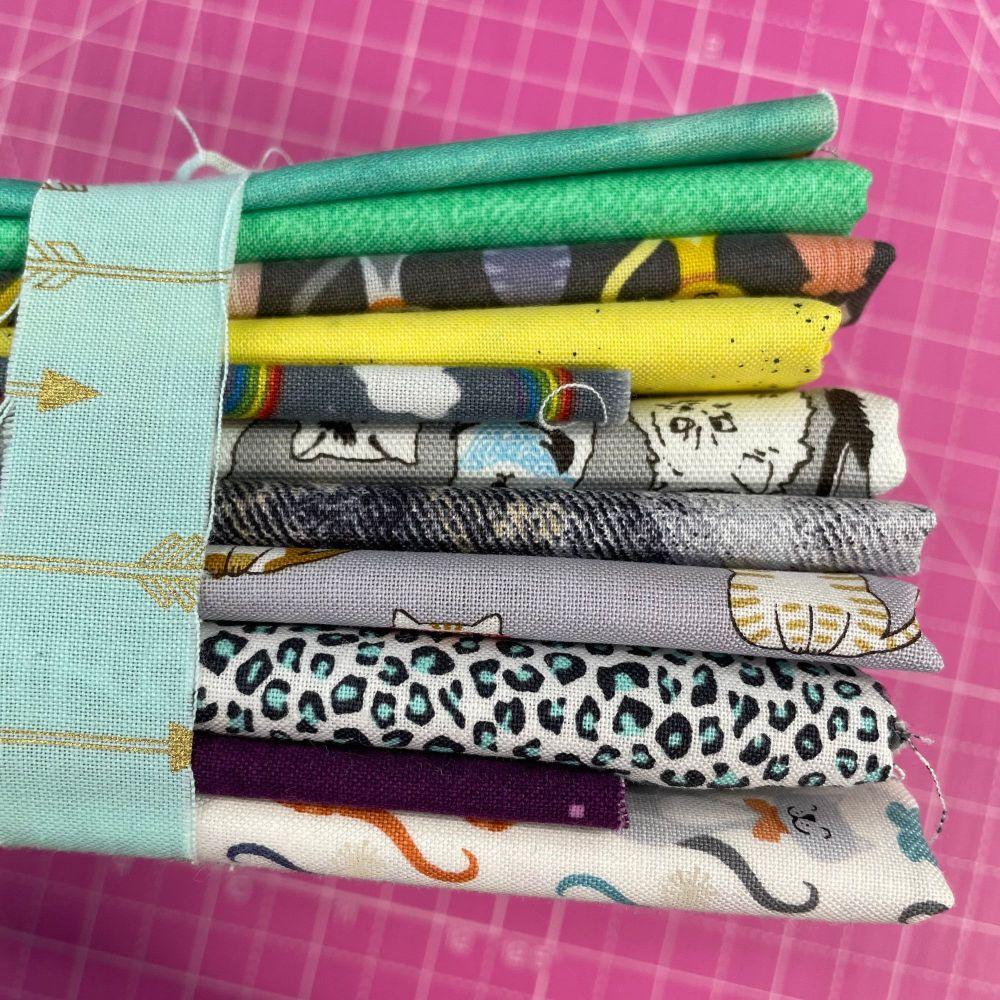 DESTASH Kitty Cat Stash Starter Bundle Cotton Fabric Stash Stack  (Mint Arr