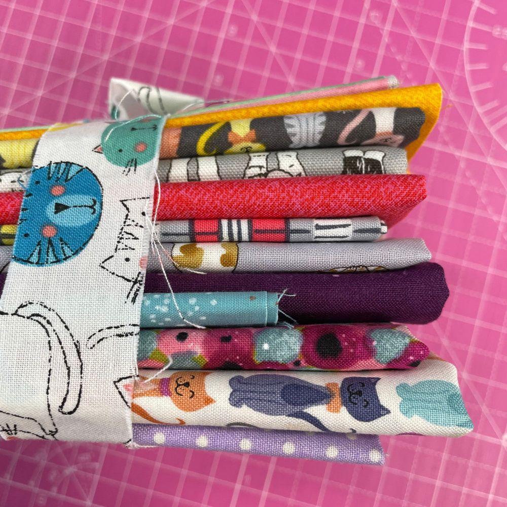 DESTASH Kitty Cat Stash Starter Bundle Cotton Fabric Stash Stack  (Cat Tie)