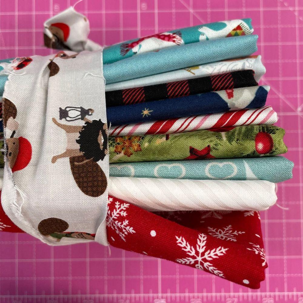 DESTASH Festive Stash Starter Bundle Cotton Fabric Stash Stack  (Beaver Tie