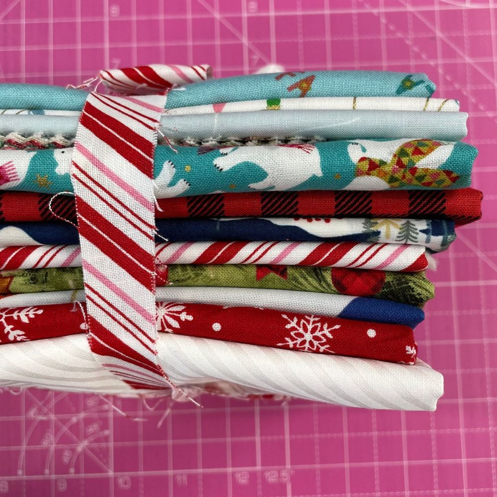 DESTASH Festive Stash Starter Bundle Cotton Fabric Stash Stack  (Candy Stri