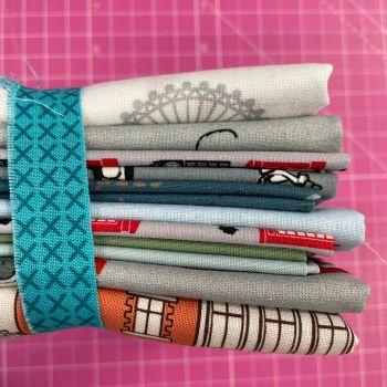 DESTASH London Stash Starter Bundle Cotton Fabric Stash Stack  (Peacock Xstitch Tie)