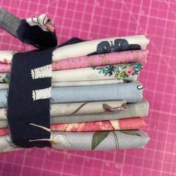 DESTASH Garden Pretty Stash Starter Bundle Cotton Fabric Stash Stack  (Celebrate Navy Tie)
