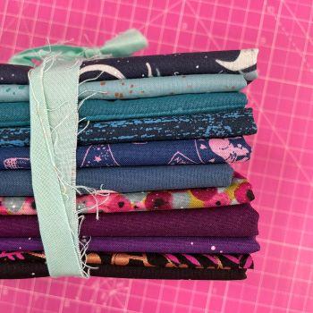 DESTASH Purple Blues Stash Starter Bundle Cotton Fabric Stash Stack  (Seabreeze Tie)