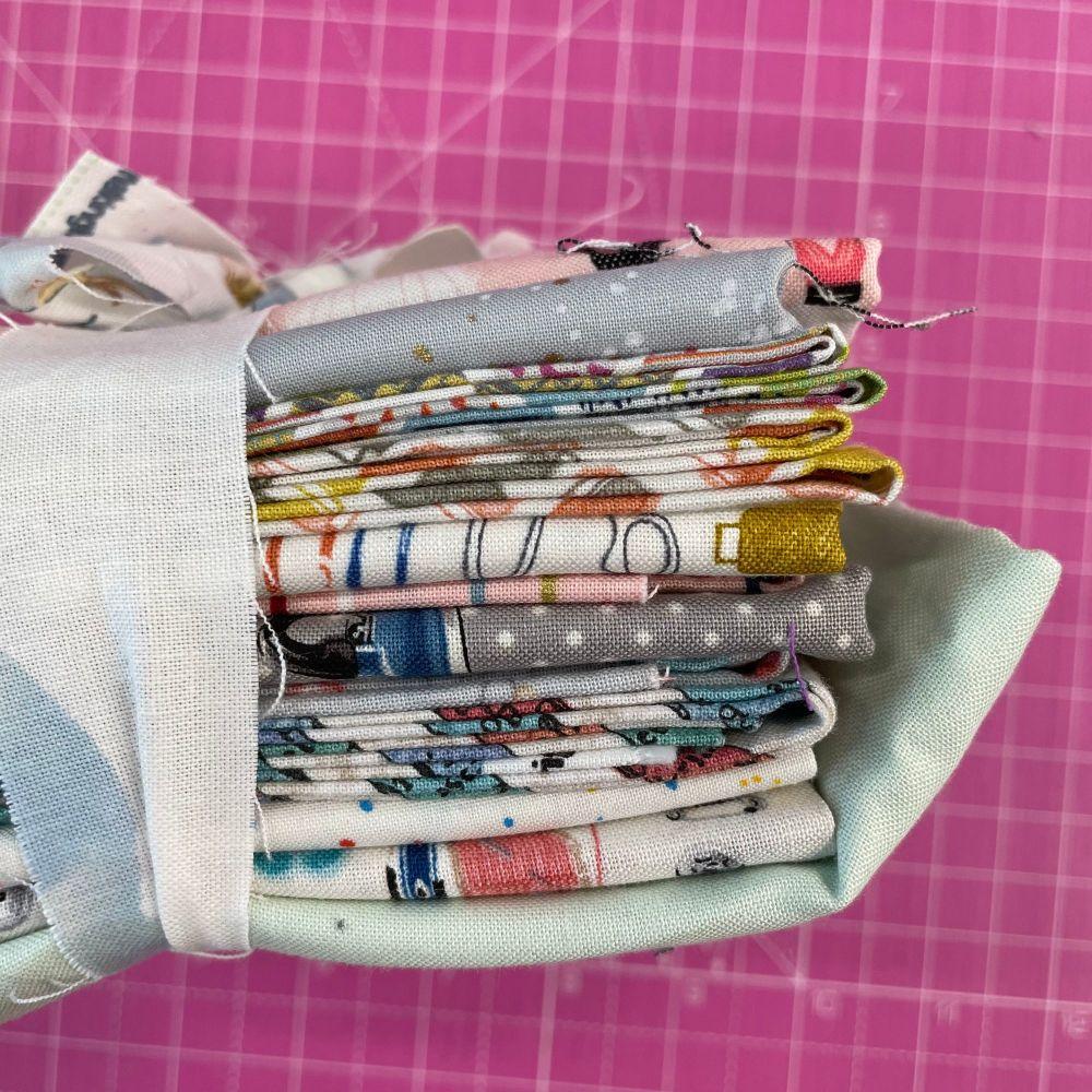 DESTASH Stitchers Stash Starter Bundle Cotton Fabric Stash Stack  (Pale Gre