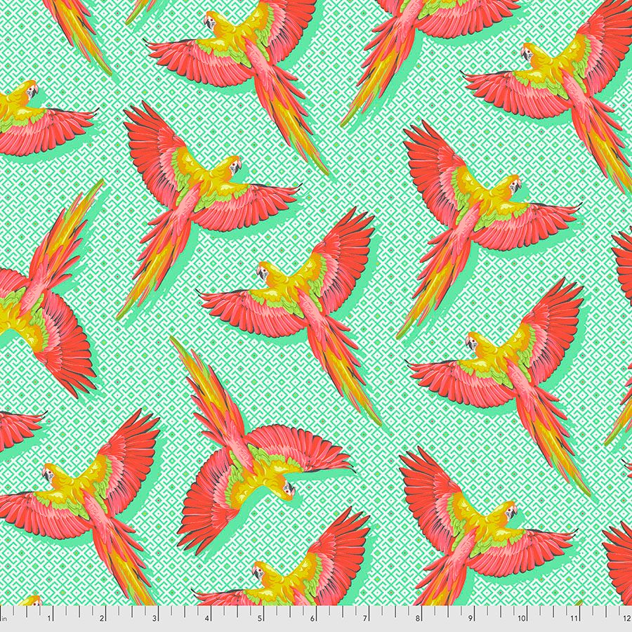 PRE-ORDER Tula Pink Daydreamer Macaw Ya Later Mango Cotton Fabric