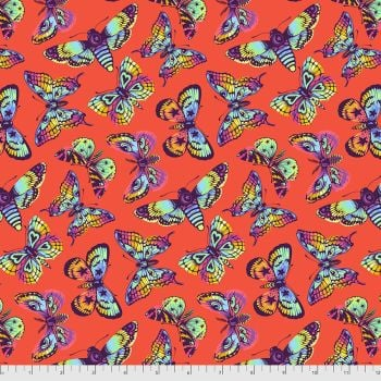 PRE-ORDER Tula Pink Daydreamer Butterfly Kisses Papaya Cotton Fabric