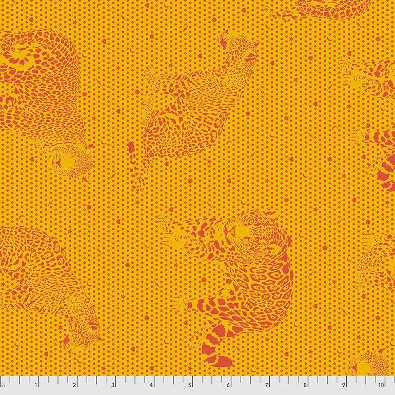 PRE-ORDER Tula Pink Daydreamer Lil Jaguars Papaya Cotton Fabric