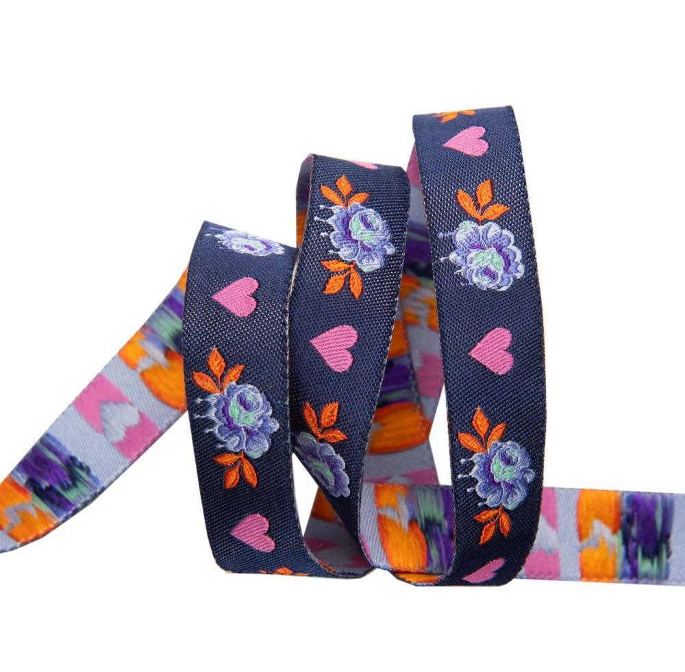 Tula Pink Curiouser and Curiouser Painted Roses Navy Renaissance Ribbons pe