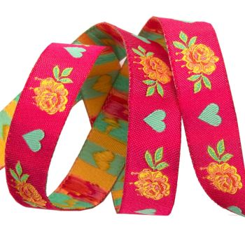 PRE-ORDER Tula Pink Curiouser and Curiouser Painted Roses Pink Renaissance Ribbons per yard