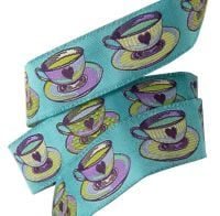 Tula Pink Curiouser and Curiouser Tea Time Blue Renaissance Ribbons per yard