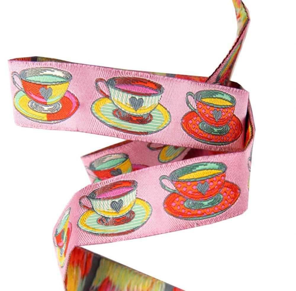 Tula Pink Curiouser and Curiouser Tea Time Pink Renaissance Ribbons per yar