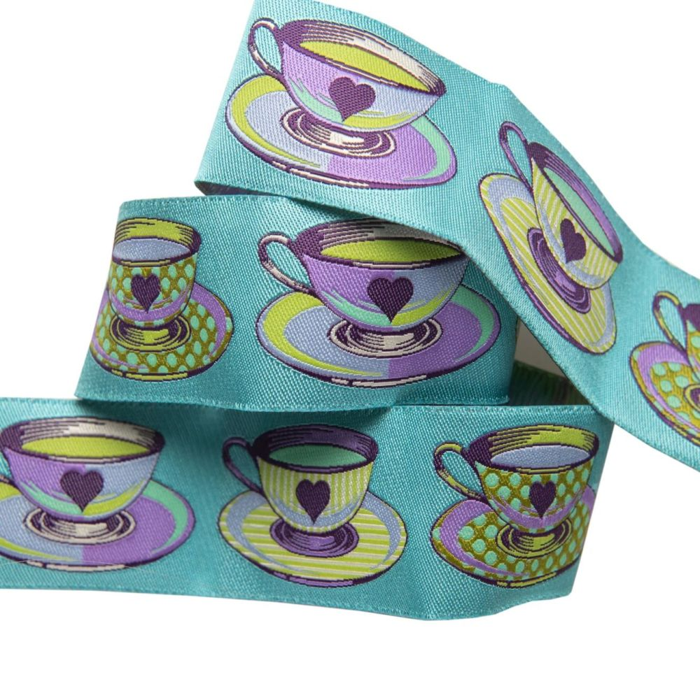 Tula Pink Curiouser and Curiouser Tea Time Blue Wide Renaissance Ribbons pe