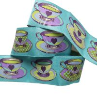 Tula Pink Curiouser and Curiouser Tea Time Blue Wide Renaissance Ribbons per yard
