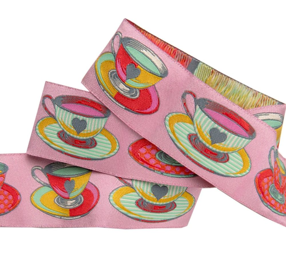 Tula Pink Curiouser and Curiouser Tea Time Pink Wide Renaissance Ribbons pe