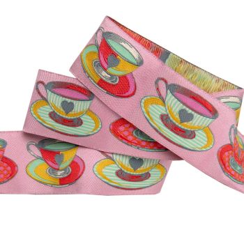 PRE-ORDER Tula Pink Curiouser and Curiouser Tea Time Pink Wide Renaissance Ribbons per yard