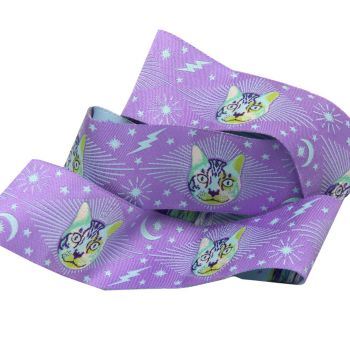 PRE-ORDER Tula Pink Curiouser and Curiouser Cheshire Cat on Purple Wide Renaissance Ribbons per yard
