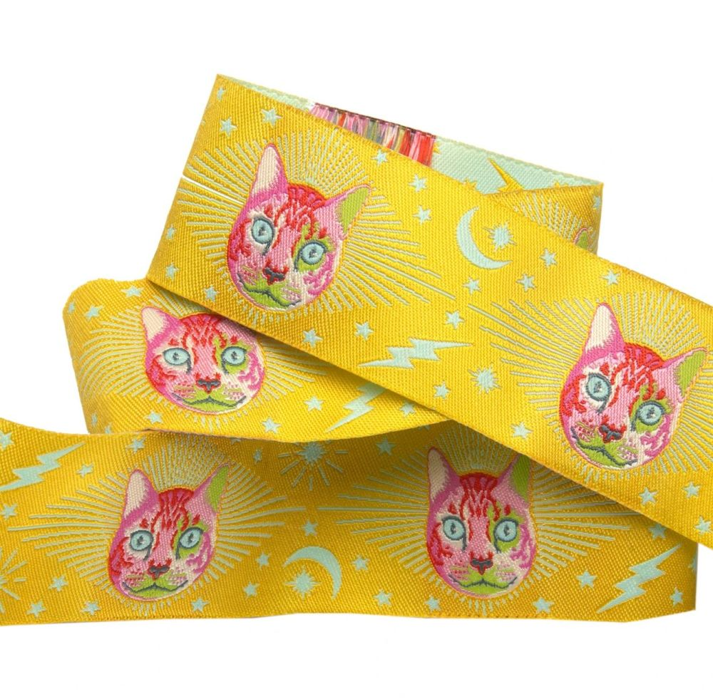 Tula Pink Curiouser and Curiouser Cheshire Cat on Yellow Wide Renaissance R