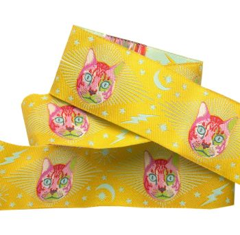 PRE-ORDER Tula Pink Curiouser and Curiouser Cheshire Cat on Yellow Wide Renaissance Ribbons per yard