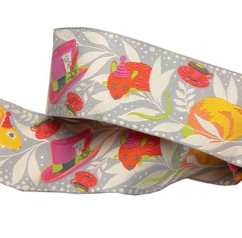 PRE-ORDER Tula Pink Curiouser and Curiouser Madhatter Pink Wide Renaissance Ribbons per yard