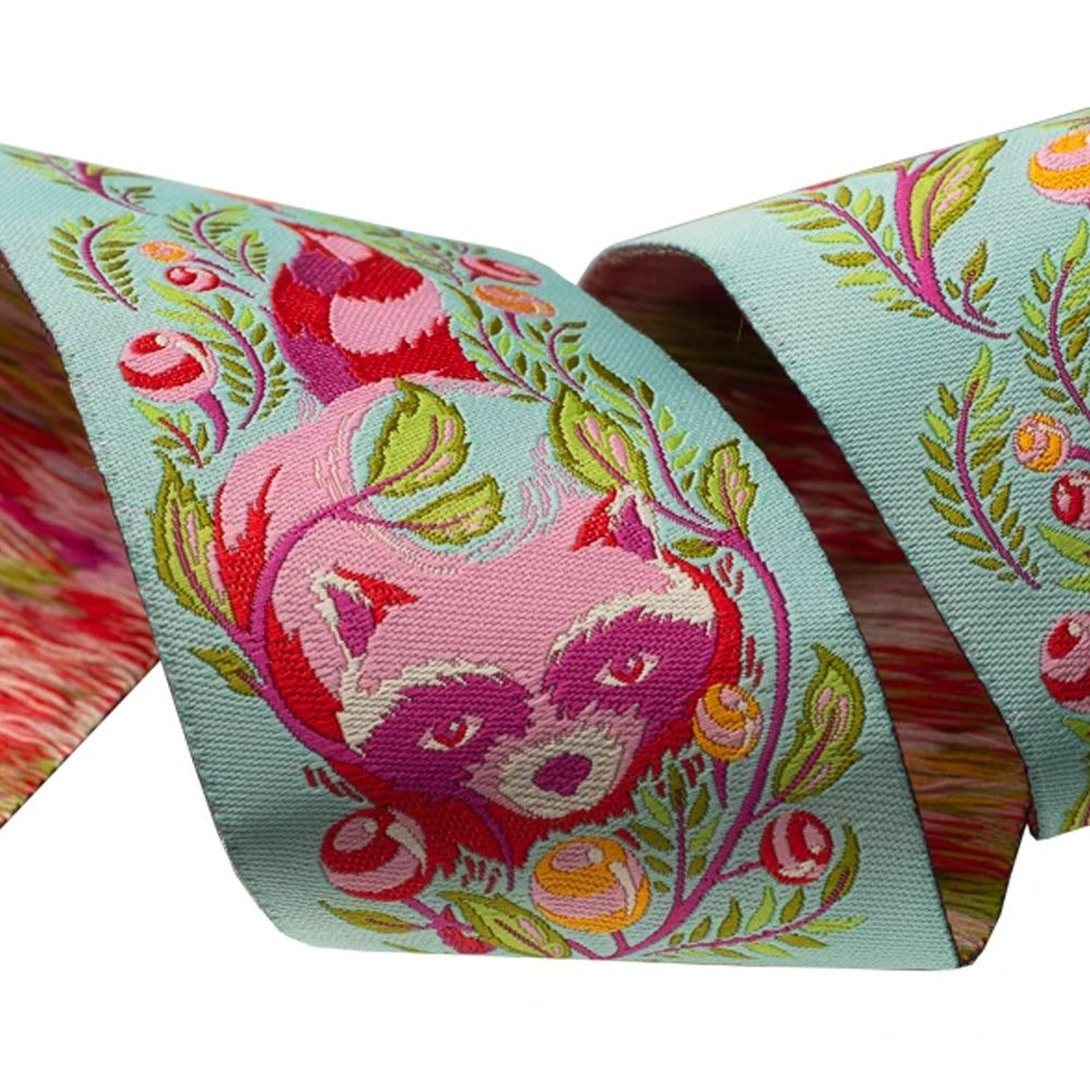 Tula Pink All Stars Raccoon Poppy Ribbon by Renaissance Ribbons per yard