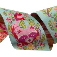 Tula Pink All Stars Raccoon Poppy Ribbon by Renaissance Ribbons per yard