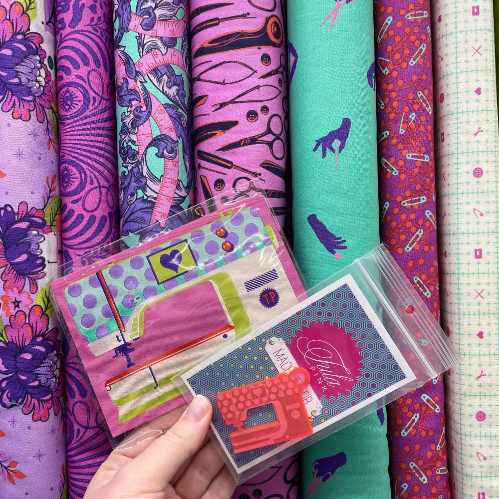 Tula Pink Mystery Stash Starter Bundle HomeMade NIGHT Cotton Fabric & Ribbo