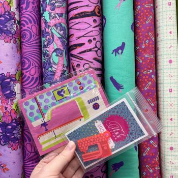 Tula Pink Mystery Stash Starter Bundle HomeMade NIGHT Cotton Fabric & Ribbon Stash Stack with LIMITED EDITION Machine Patch and Charm