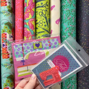 Tula Pink Mystery Stash Starter Bundle HomeMade MORNING Cotton Fabric & Ribbon Stash Stack with LIMITED EDITION Machine Patch and Charm