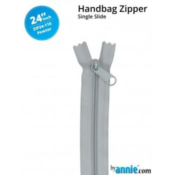 "By Annie 24"" Handbag Zipper Single Slide Pewter Zip"
