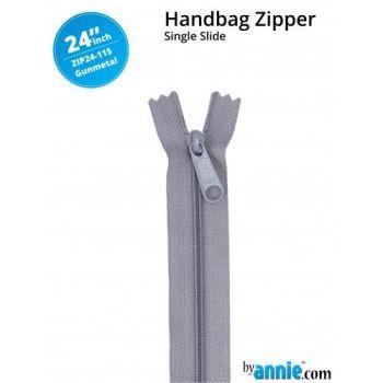 "By Annie 24"" Handbag Zipper Single Slide Gunmetal Zip"