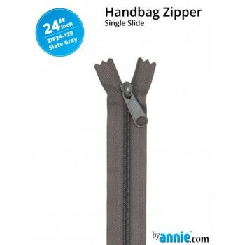 "By Annie 24"" Handbag Zipper Single Slide Slate Grey Zip"