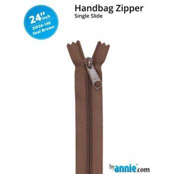 """By Annie 24"""" Handbag Zipper Single Slide Seal Brown Zip"""