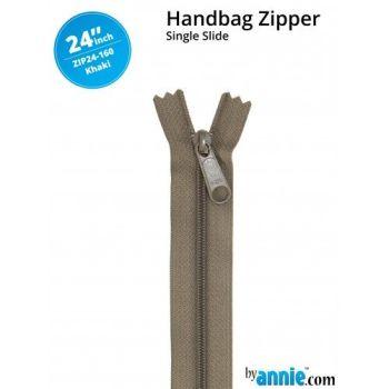 "By Annie 24"" Handbag Zipper Single Slide Khaki Zip"