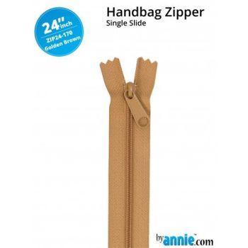 "By Annie 24"" Handbag Zipper Single Slide Golden Brown Zip"