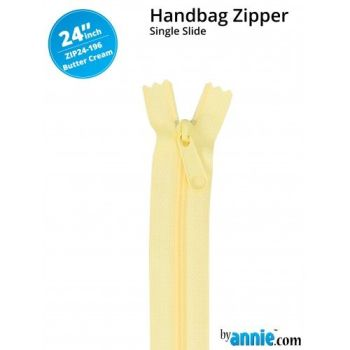 """By Annie 24"""" Handbag Zipper Single Slide Butter Cream Zip"""