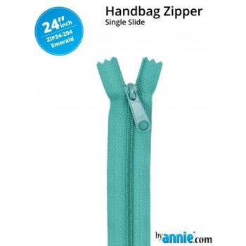 "By Annie 24"" Handbag Zipper Single Slide Emerald Green Zip"