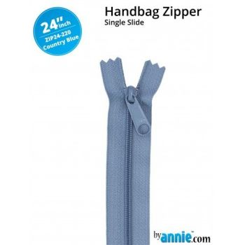 "By Annie 24"" Handbag Zipper Single Slide Country Blue Zip"