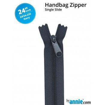 "By Annie 24"" Handbag Zipper Single Slide Navy Zip"